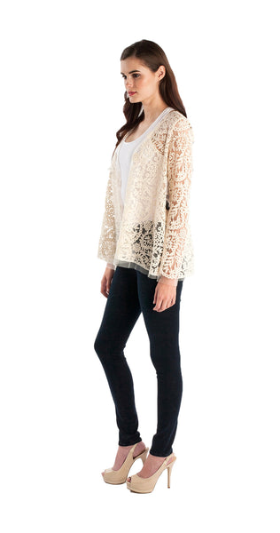 Nicole Miller Embroidered Mesh Cardigan