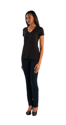 Splendid Very Light Jersey V-Neck Top in Black