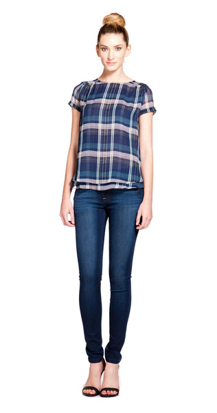 MiH The Circle Top in Sheer Check Blue 3