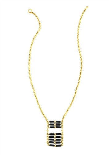 Sylvia Benson Long George Necklace in Matte Black