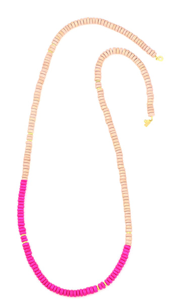 Sylvia Benson Long Haze Necklace in Blush with Pink