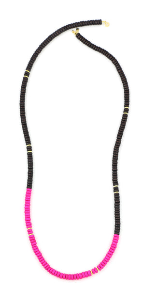 Sylvia Benson Long Haze Necklace in Carob and Pink