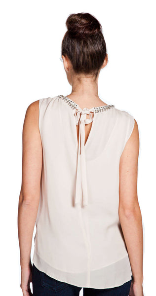 Rebecca Taylor Embellished Georgette Drape Top