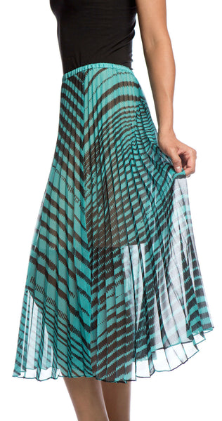 Tracy Reese Sunburst Pleat Skirt in Lagoon/Black Stripe