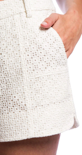 Annie Griffin Collection Lindy Modern Short in White Eyelet