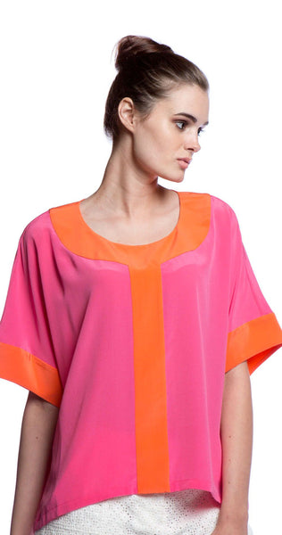 Annie Griffin Collection Hadley Blouse in Pink & Orange