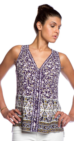 Rebecca Taylor V-Neck Indian Printed Top in Aubergine