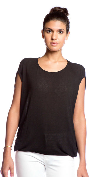 Ella Moss Icon Drapey Scoop Top in Black