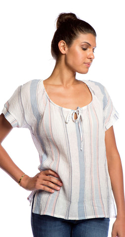 Splendid Canyondale Stripe Top in Chambray/Apricot