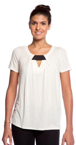 Ella Moss Pleat Top in Natural