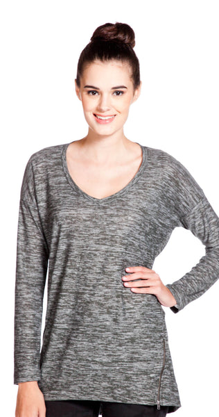 Splendid V Neck Tunic in Hunter