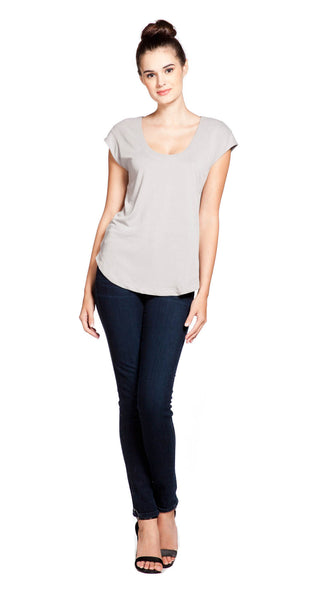 Splendid Sandwashed Jersey Crop Top in Stone