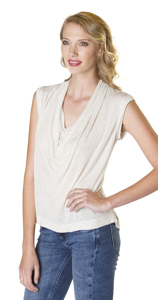 Splendid Sparkle Jersey Drape Neck Top