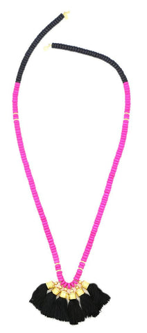Sylvia Benson Crosby Necklace in Black with Pink