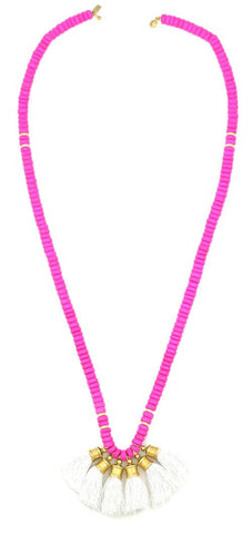 Sylvia Benson Crosby Necklace in Pink with White Tassels