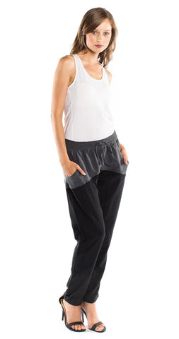 LnA Cardiff Silk Pants in Grey/Black