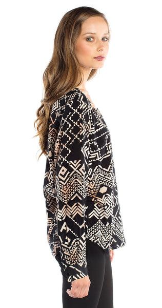Plenty by Tracy Reese Henley Tunic in Black/Oatmeal