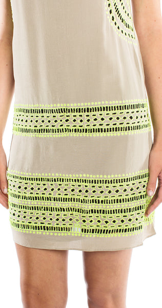 Shoshanna Embroidered Brenda Dress in Taupe/Neon Yellow