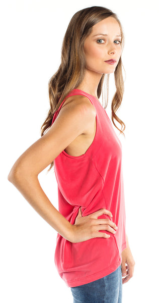 Splendid Back Pleat Top in Carmine