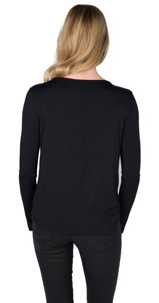Ella Moss Bella Drape Blouse in Black