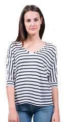 splendid venice stripe u-neck dolman top