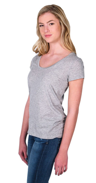 Splendid Light Jersey Short Sleeve Scoop Tee in Heather Grey