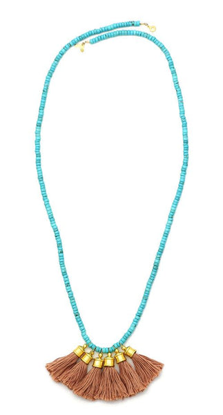 Sylvia Benson Crosby Necklace in Blush with Turquoise