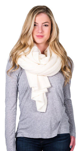 White + Warren Cashmere Travel Wrap in Pearl White