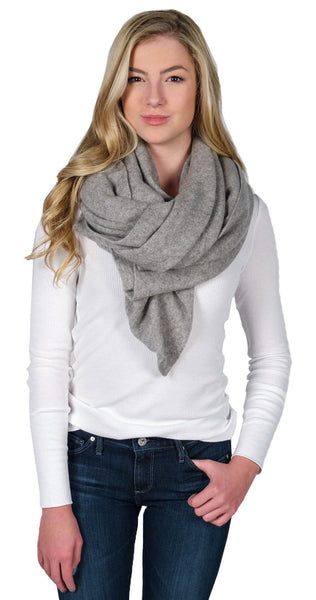 White+Warren Cashmere Travel Wrap in Grey Heather
