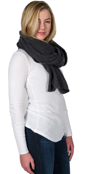 White + Warren Cashmere Travel Wrap in Charcoal Heather