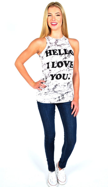Zoe Karssen 'Hello I Love You' Loose Fit Classic Tank in Marble White