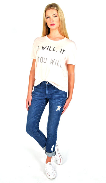 Zoe Karssen I Will, If You Will Tee in Cloud Pink