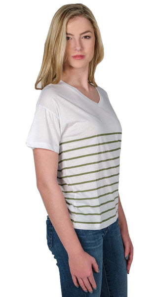 Zoe Karssen Stripe Loose Fit V-Neck Tee in Optical White/Loden Green