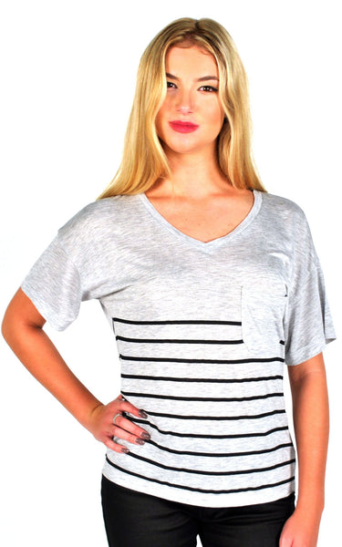 Zoe Karssen Stripe Loose Fit V-Neck Tee in Grey Heather/Pirate Black
