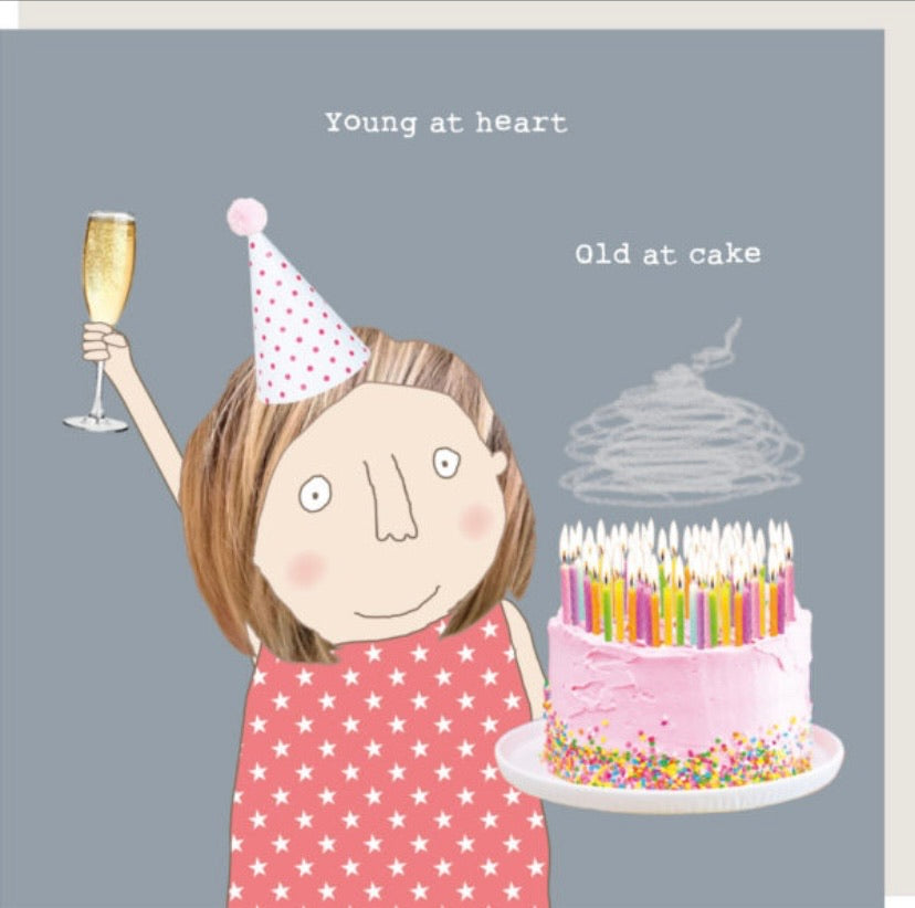 Card (blank) | Young at heart, old at cake
