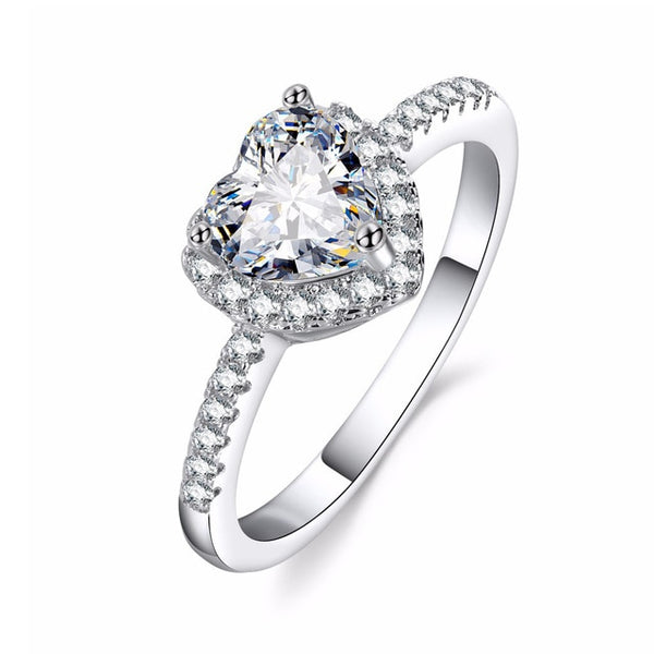 Shop2Go Crystal Crown Silver Heart Ring