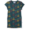 Pineapples Rolled Up Tee Dress - Forest