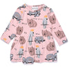 Wildlife Onesie Dress - Muted Pink