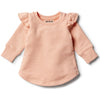 Tropical Peach Ruffle Sweat Top