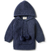 Twilight Blue Rib Knitted Hoodie