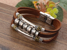 Load image into Gallery viewer, Handmade Retro Leather Charm Bracelet - 9.5in