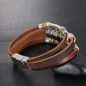 Handmade Retro Leather Charm Bracelet - 9.5in