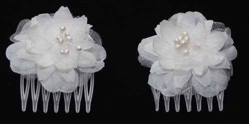 Small white flower combs pair gladhair mightylinksfo