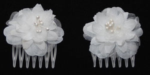 Small White Flower Combs - Pair