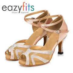 eazyfits Performance Beige Dancing Shoes with Crystals for Women