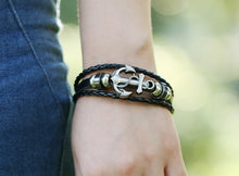 Load image into Gallery viewer, Handmade Retro Leather Anchor Charm Bracelet Men Vintage Braided Bracelet - 8in
