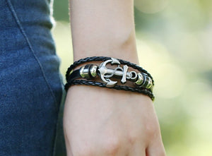 Handmade Retro Leather Anchor Charm Bracelet Men Vintage Braided Bracelet - 8in