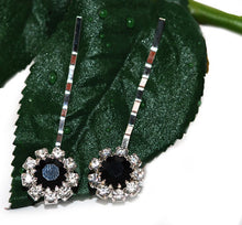 Load image into Gallery viewer, Swarovski Bobby Pins with Black Crystal Stones - Pair