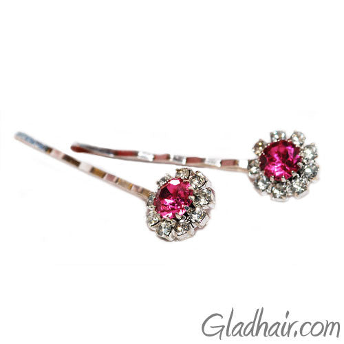Swarovski Bobby Pins with Pink Crystal Stones - Pair