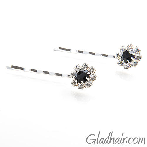 Swarovski Bobby Pins with Black Crystal Stones - Pair